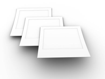 3d rendered image of 3 blank photos. photo
