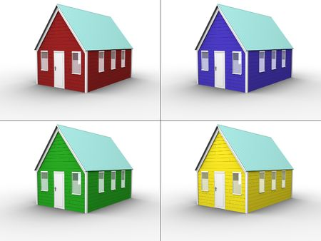 new entry: 3d rendered image of 4 differently colored houses. Red, Green, Blue and Yellow. Isolated and highly detailed. Each house in 1500x1125 pixels. Stock Photo