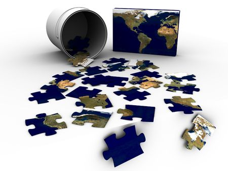 3d rendered image of a jigsaw-puzzle, in a bucket, of the world, USA in focus. high quality. photo