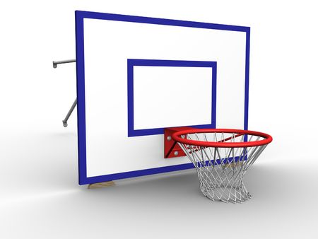 nylon string: 3d image of a basketball hoop with net on a backboard.