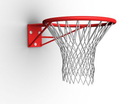 nylon string: 3d image of a basketball hoop with net.