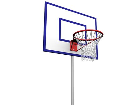 3ds: 3d image of a basketball hoop with net on a backboard.