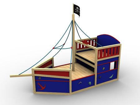 3d image of a toy pirate boat for children to play on. photo
