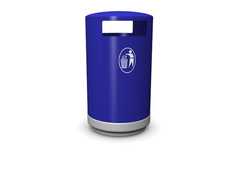 receptacle: 3d image of a garbage can with a recycle symbol. Stock Photo