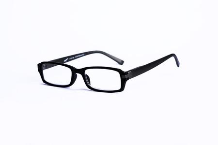 outsider: Glasses in black on white background Stock Photo