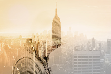 unrelated: Double Exposure is thoughtful and desperately in city Stock Photo