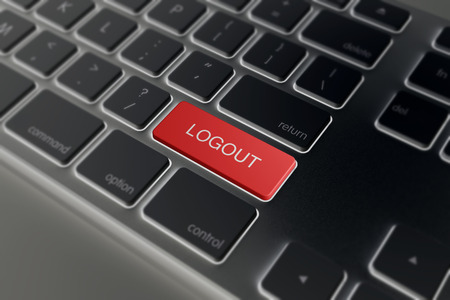 logout: black Computer key with red logout button