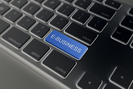 ebusiness: e-business key on black a keyboard closeup. E-commerce concept image.