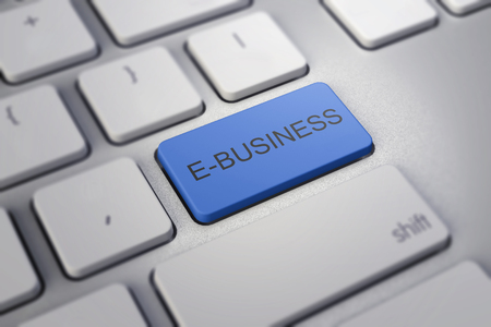 ebusiness: e-business key on white a keyboard closeup. E-commerce concept image.