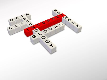 white and red Internet crossword cubes 3d illustration Stock Photo