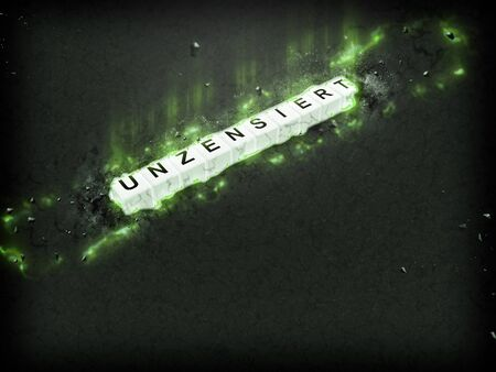 intact: illustration text uncensored cube on green glows