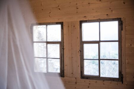 old house with old wood and nice rustic windows Stock Photo