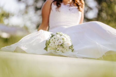 Beautifully decorated wedding ceremony location under a tree, wide view. Stock Photo