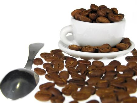 infusing: Coffee and cup            Stock Photo