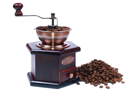 Grinder and coffe isolated