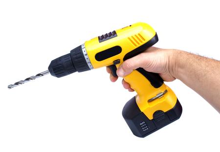 yelow: Hand yelow drill isolated Stock Photo