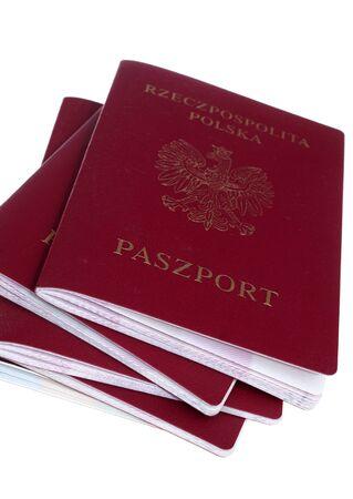 foreign nation: Pile of poolish passport isolated Stock Photo