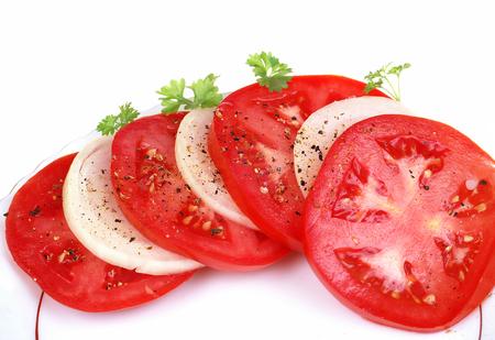 Tomato and onion slice isolated photo