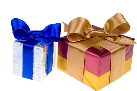 Presents with blue and gold ribbon isolated on white background Stock Photo - 1862301
