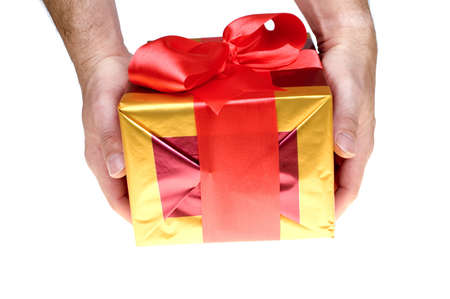 Giving present with red ribbon over white Stock Photo - 1862297