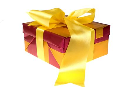 closed ribbon: Beautiful xmas presents with yellow bow on white background isolated Stock Photo
