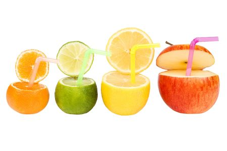Colorful abstract fruit drink isolated on white photo