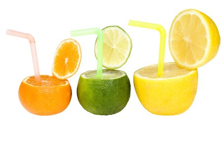 Three citrus abstract drink isolated on white photo
