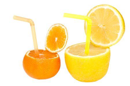 abstract fruit: Colorido resumen de frutas con pajitas beber aisladas