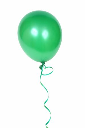 Gren balloon with ribbon isolated on white background
