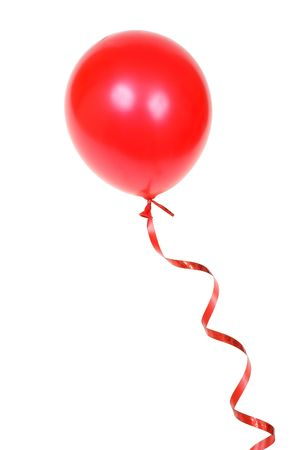 Red balloon with ribbon isolated on white background Stock Photo