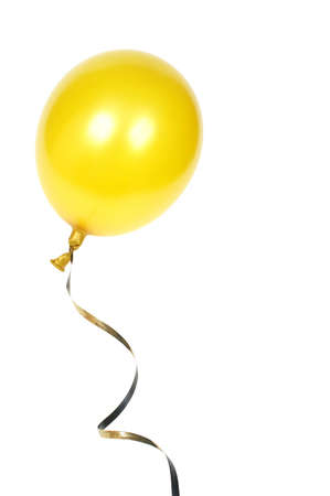 Yellow balloon with ribbon isolated on white background Stock Photo