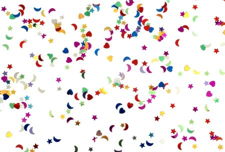 Many Colorful confetti on white background isolated