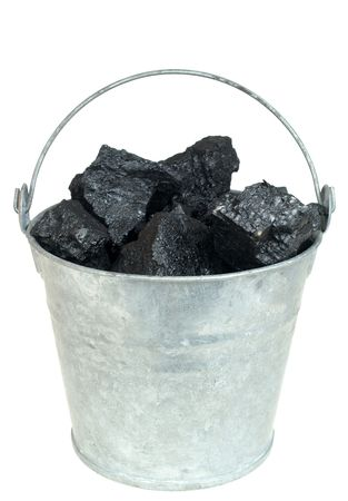 Pieces of coal  in bucket isolated on white background