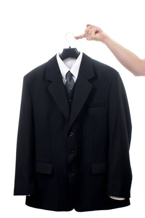 suit coat: Black suit on hanger isolated on white background