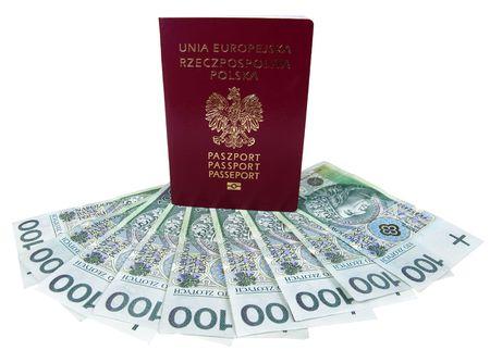 dolar: Uni�n Europea y pasaporte polaco dinero aislados en blanco
