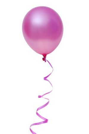 Pink balloon with ribbon isolated on white background  Stock Photo