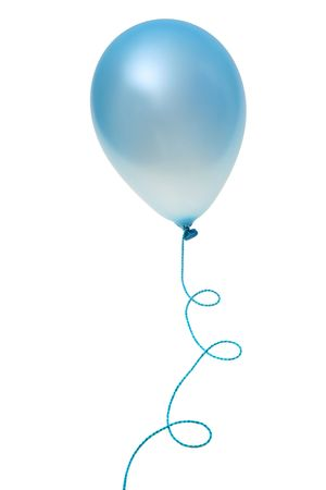 Blue  balloon with string isolated on white background