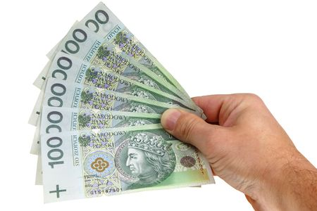 Polish money isolated on white background (with clipping path)