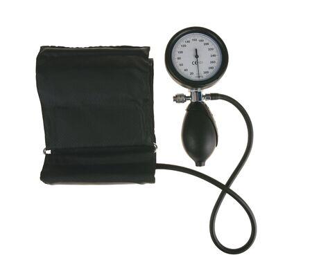 Black sphygmomanometer, medical tool isolated on white background
