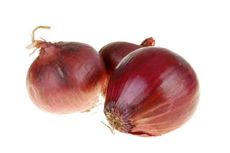 cocaine: Three red onion on white background close-up
