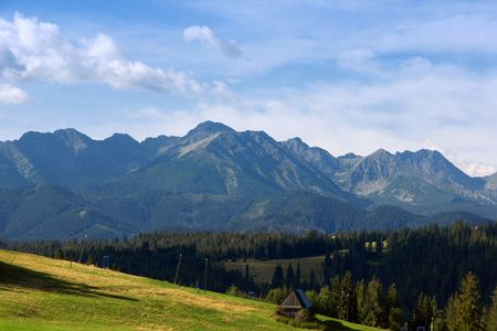 Panorama of the beatiful Polish mountain Tatras photo