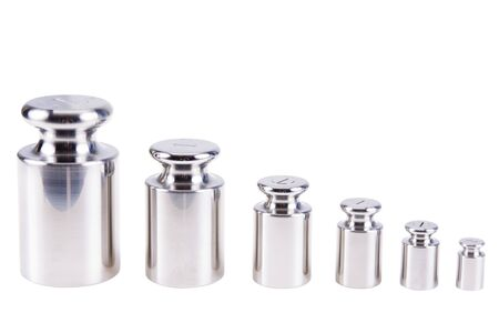 Calibration weight silver, isolated on white background