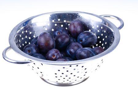 colander:  Blue plums in colander