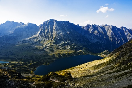 High Tatras area of the valley five pond. photo