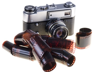 Color negative film and vintage camera Stock Photo - 13224601