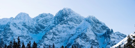 Panoramic Polish Tatras in winter scenery photo