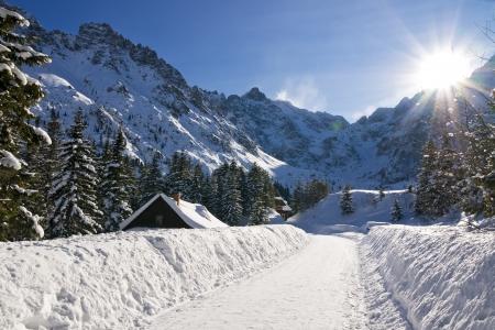 winter scenery: Panoramic Polish Tatras in winter scenery