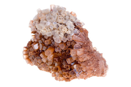 aragonite: Cluster of twinned aragonite on a white background