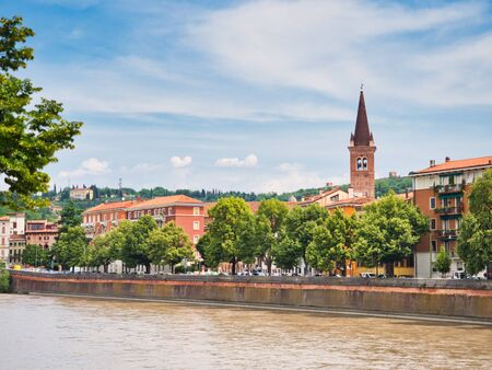 View of Longadige Sammicheli and Adige River  from Ponte Navi in Verona during the day