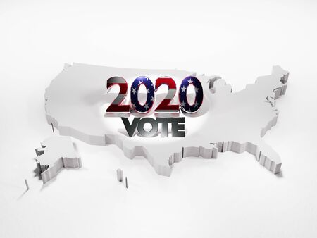Map of the United States including Alaska with the word vote and the number 2020 in reference to the election year - 3d Rendering